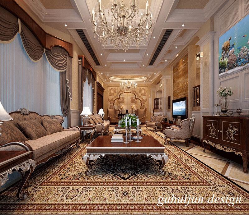 润邦国际别墅住宅美式+欧式风格客厅效果图欣赏