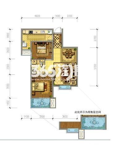 御锦城七期B户型2室2厅1厨1卫80�O