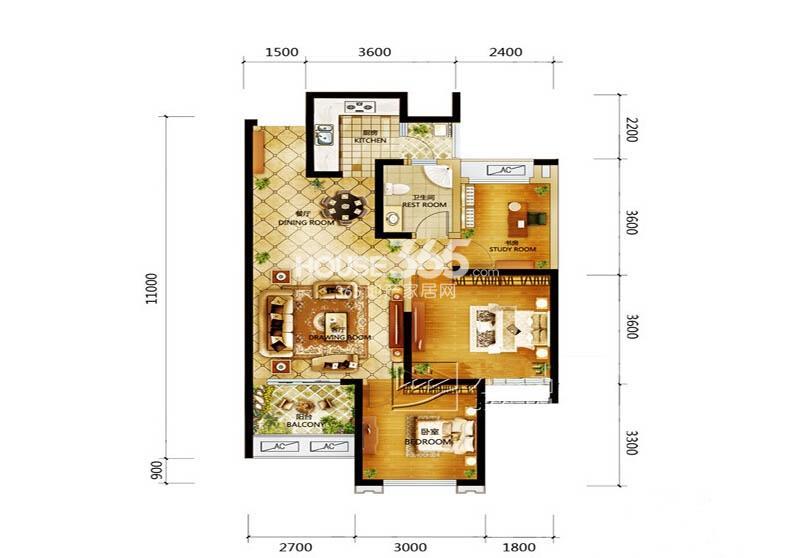 世园大公馆8号楼D1户型3室2厅1卫1厨 92.00㎡