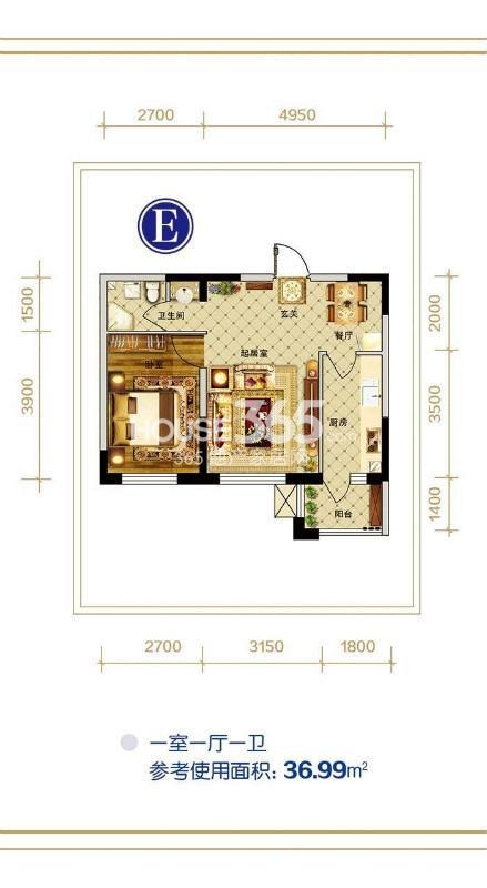 E户型 一室一厅一卫 参考使用面积36.99㎡