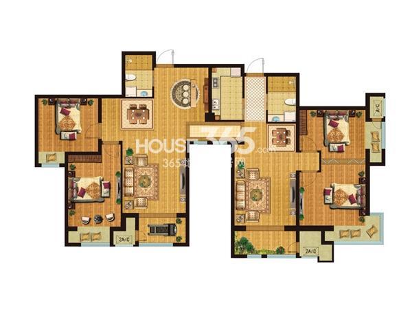 D3+D4户型4室4厅2卫2厨 182.00㎡