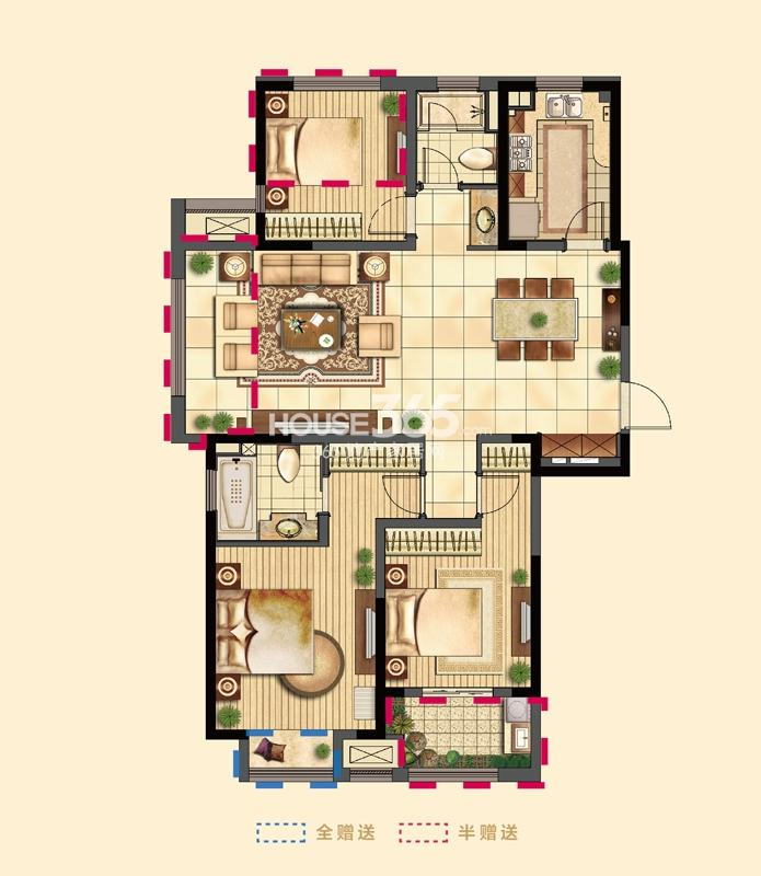 吴江新城吾悦广场二期1号楼标准层B户型3室2厅1卫1厨127㎡