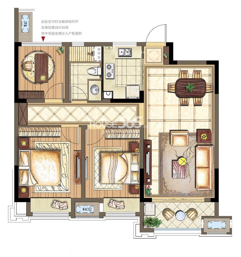 金科观天下B2-2户型2+1室两厅两卫95平米