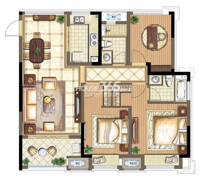 金科观天下C2户型2+1室两厅两卫101平米