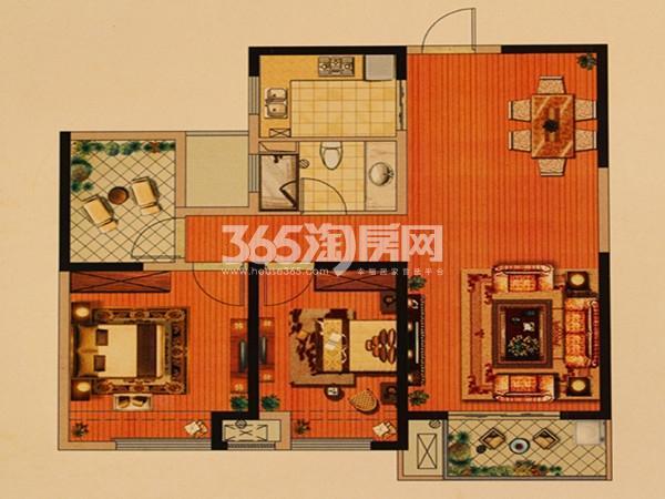 城置万锦城B户型  2室2厅1卫  面积:105.52㎡