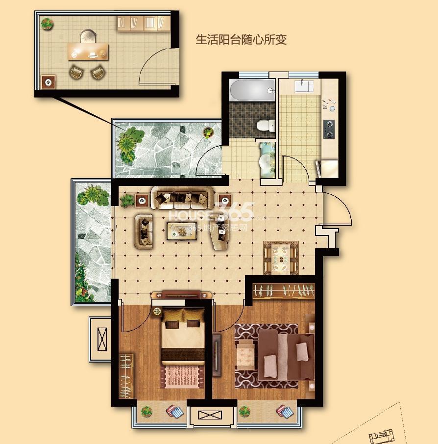 电建地产海赋尚城一期标准层78平方米 2+1室2厅1卫 A2户型