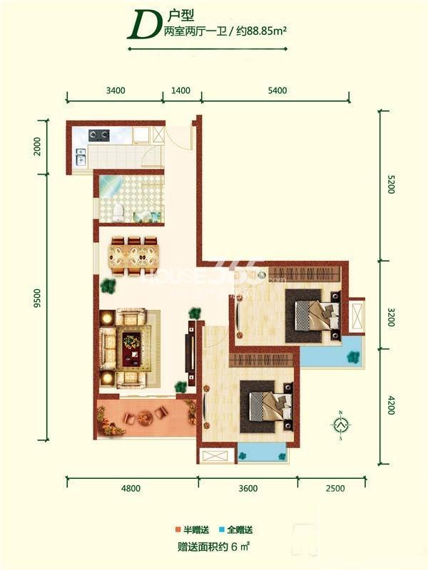 融尚中央住区5#楼D户型两室两厅一卫88.85㎡