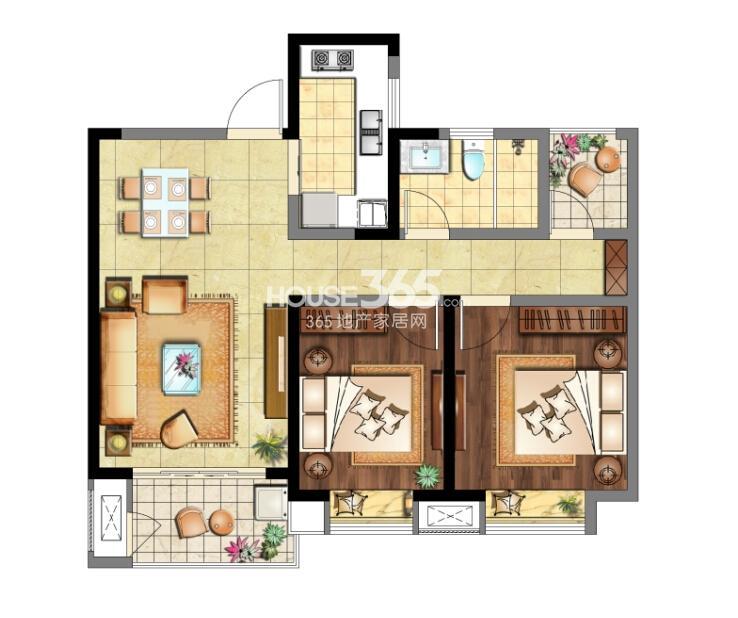 9#标准层03室 D2户型 2室2厅1卫 约86㎡