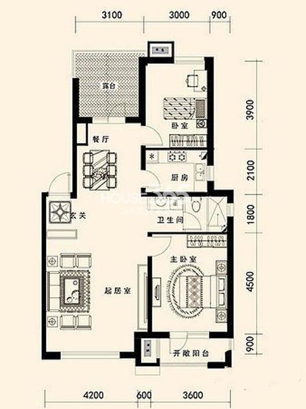 唐轩公馆 100平方米 三室两厅一卫一厨
