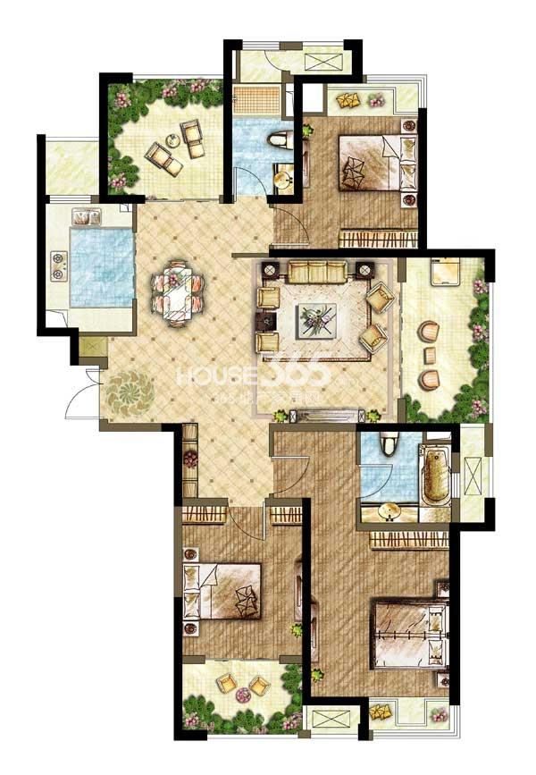 世茂香槟湖A5户型 3+1室2厅2卫