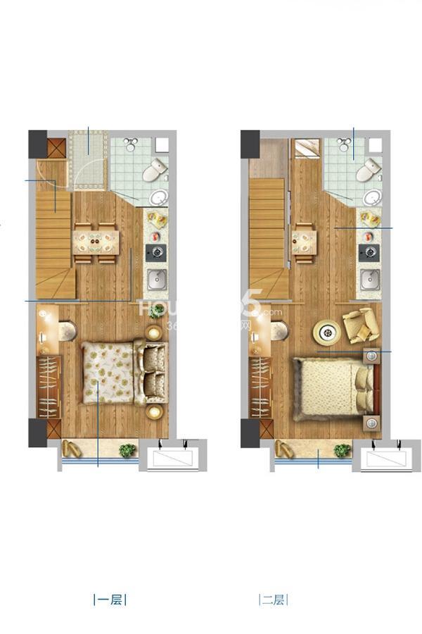 花海微家3#4#公寓标准层装修方案B2室2厅1卫1厨34平米