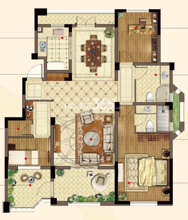 洋房二层123㎡户型图