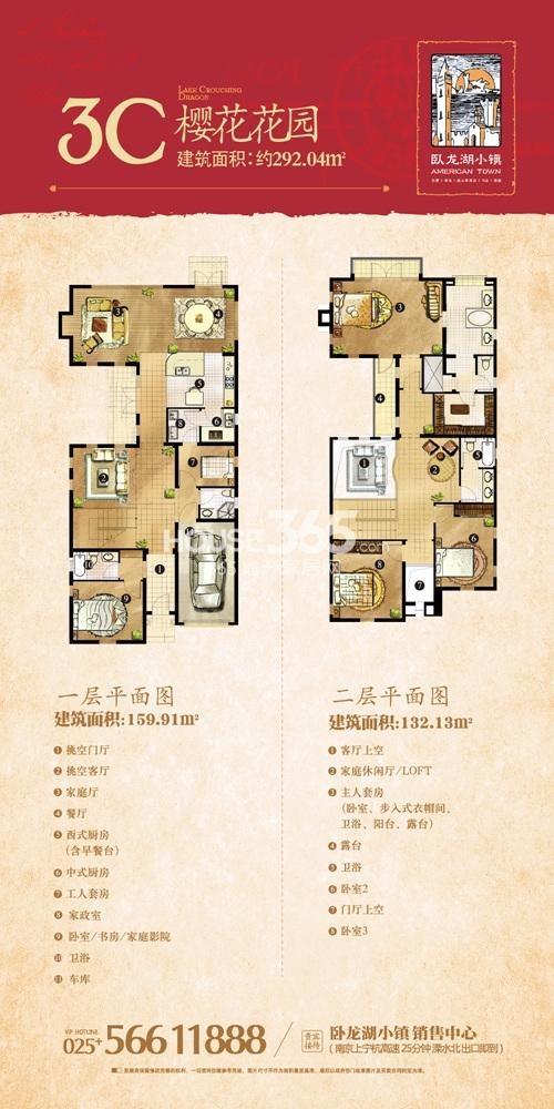 卧龙湖小镇独栋别墅3C户型图