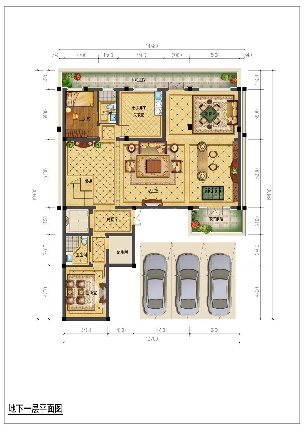 翡翠城月光院子8号楼330S地下一层平面图