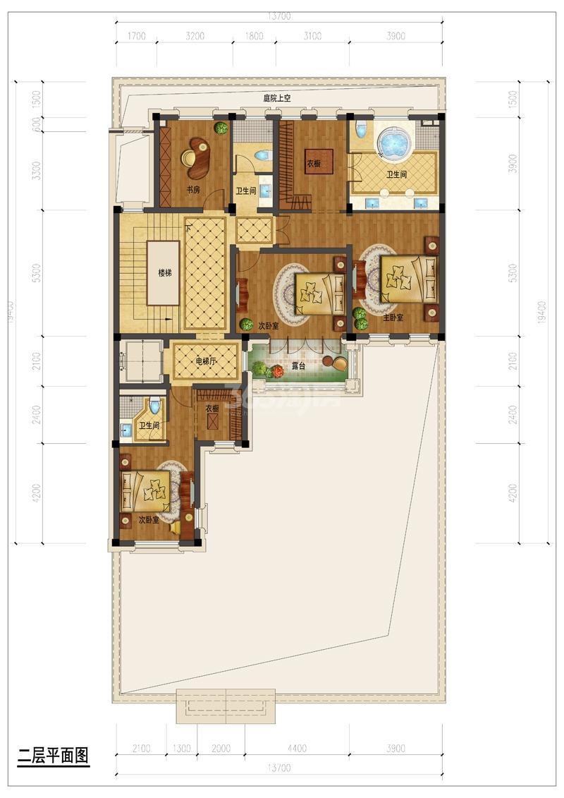 翡翠城月光院子8号楼330S二层平面图