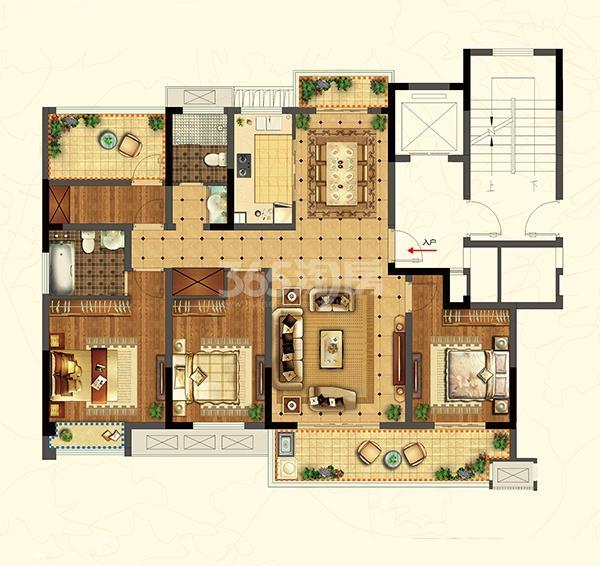 招商雍和苑高层A1户型140㎡4室2厅2卫