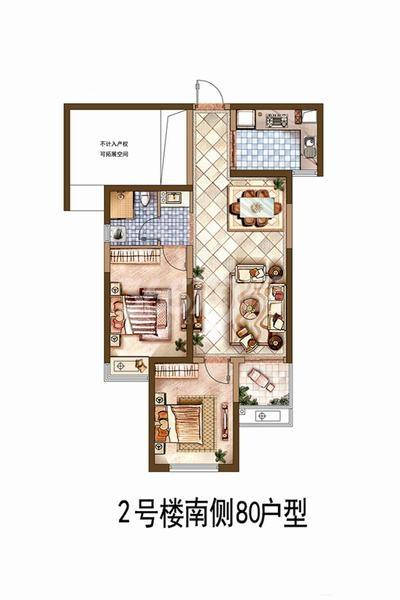 中航华府C2户型3室2厅1卫1厨80平米