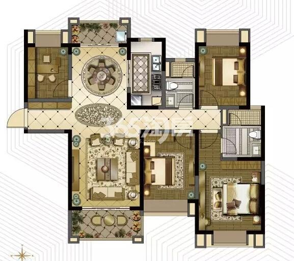 雅居乐中心广场5#楼142平户型图
