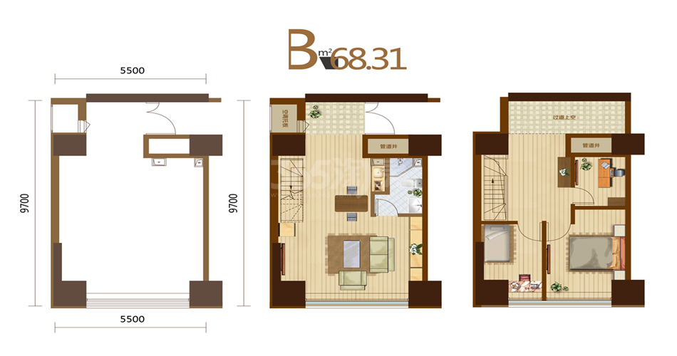 B户型 3室2厅1厨1卫 68.31平米