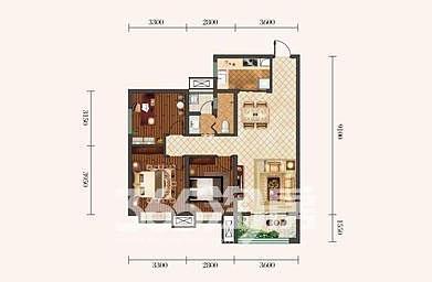 金泰丝路荟A2户型三室两厅103㎡