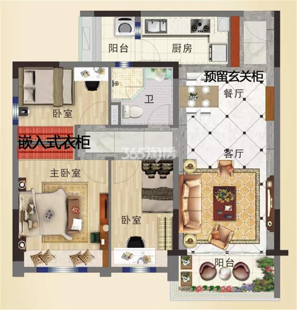 碧桂园城市花园二期95-B户型图