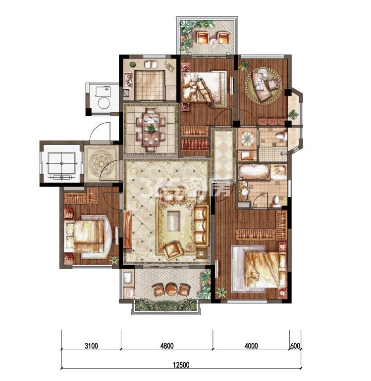 1-3洋房四层东边01室D-1户型 136㎡