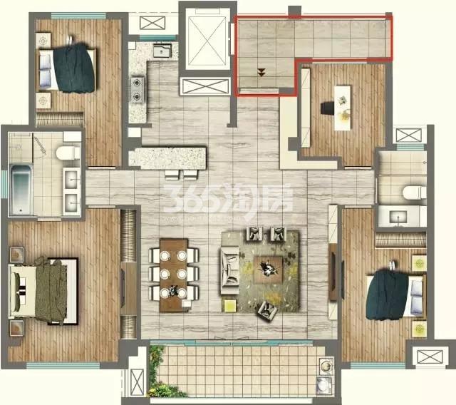 143平方米四室两厅一厨两卫