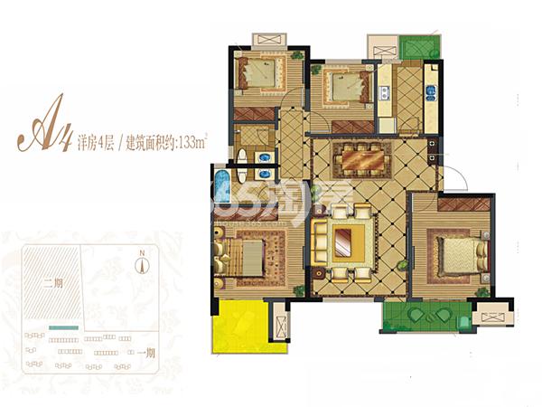 保利心语花园A4洋房4层户型图