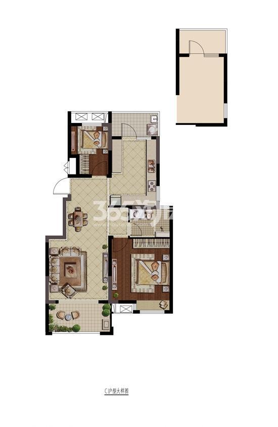 紫金铭苑C1户型二房两厅一卫88㎡户型图