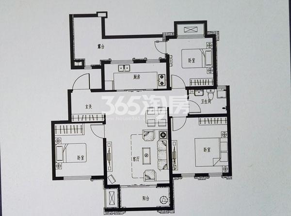 洋房K7户型三室两厅一卫
