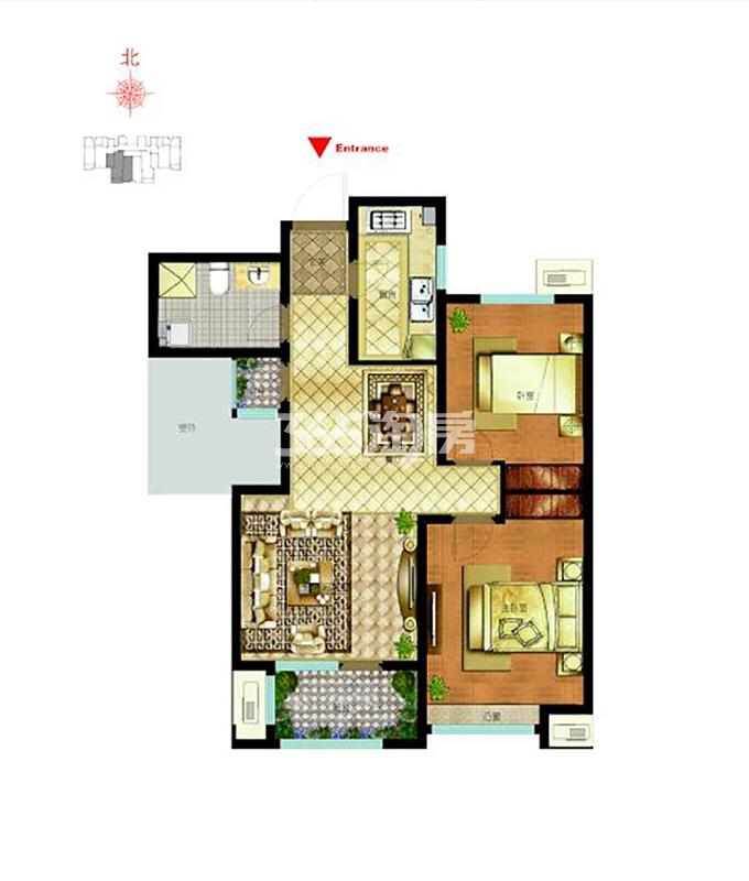 C2户型 91平米 2室2厅1卫