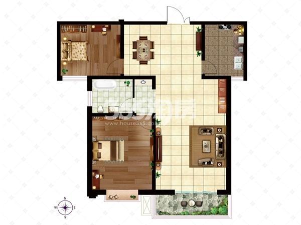 10# A1/B1户型 面积约116.09-116.94㎡ 户型两室两厅一卫