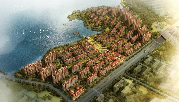 华强城颐景湾畔藏湖鸟瞰图
