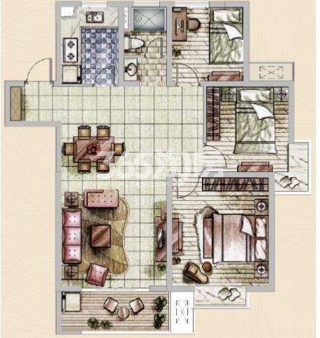 美的乐城高层3室2厅105㎡户型