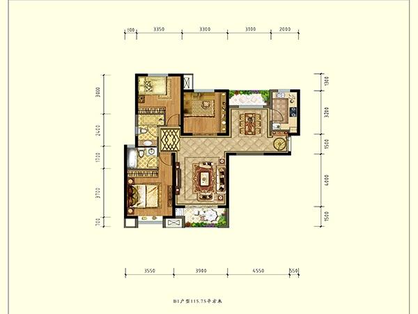 德杰状元府邸B1户型三室两厅一厨两卫115.75㎡