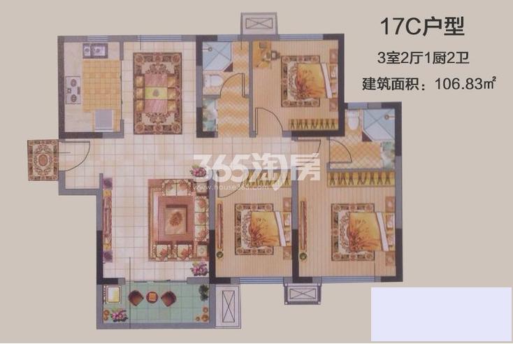 中建昆明澜庭E户型图3室2厅1厨2卫106.83㎡