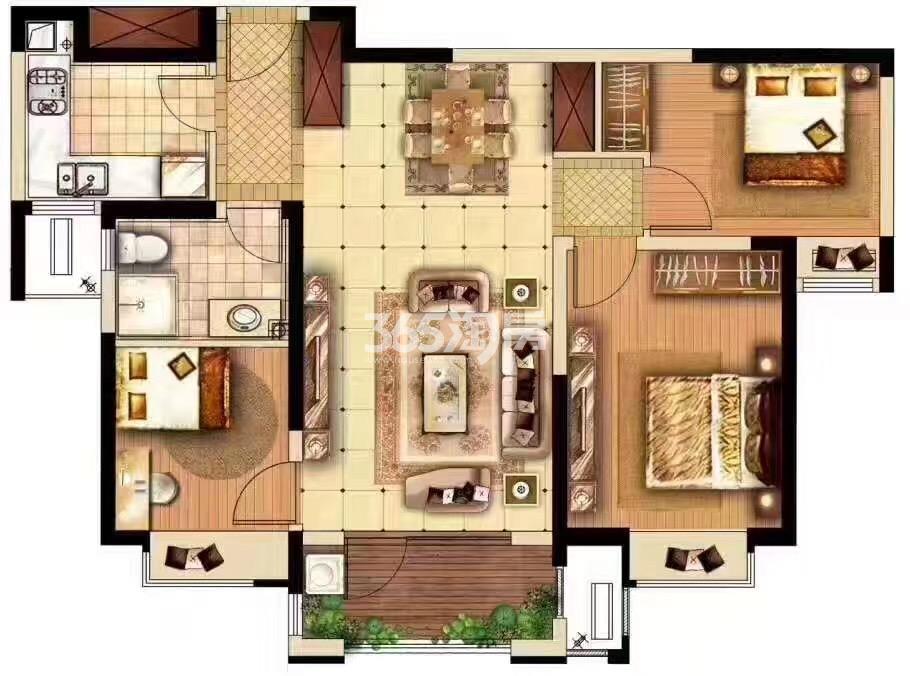 奥林匹克花园H3#楼三室两厅一厨一卫126㎡