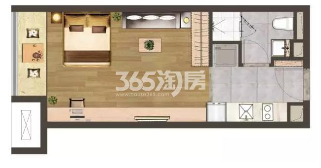 建发紫悦广场C户型43㎡户型图