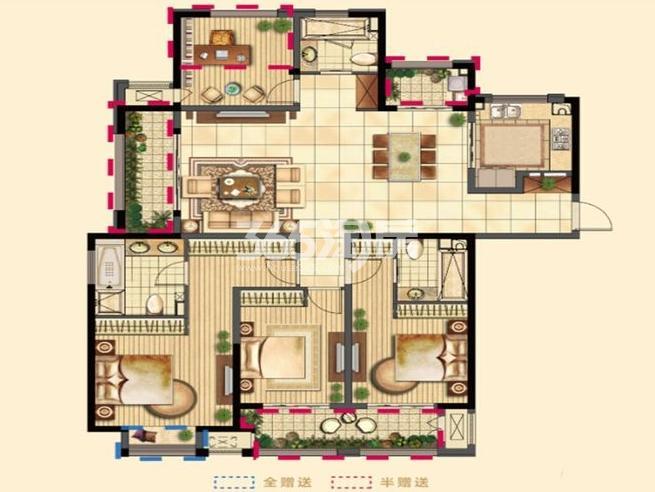 二期5#6#7#9#高层标准层G户型 4室2厅3卫1厨