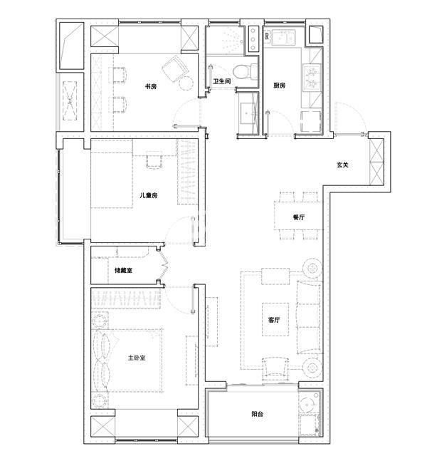 105㎡B户型三室