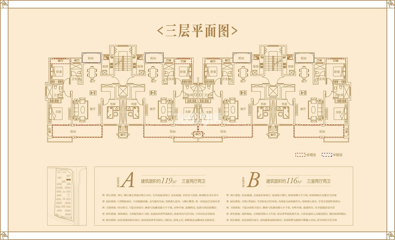 同昇玫瑰园28#119㎡、116㎡户型(三层)