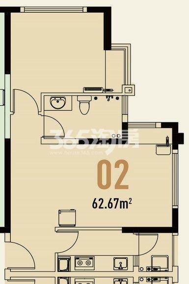 世茂翡翠首府1#楼公寓62.67㎡户型图